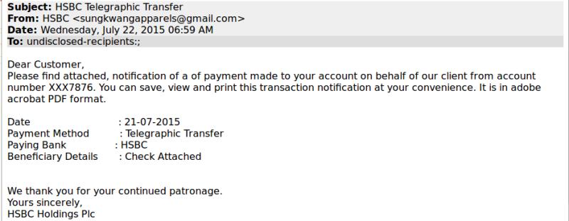 Beware of fake HSBC Telegraphic Transfer Notifications